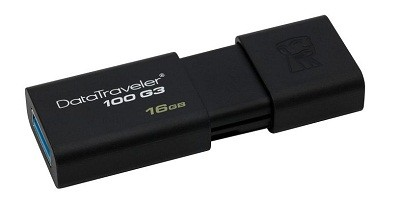 Флэш-память Kingston (DT100G3/16GB), 16 Gb, DataTraveler 100G3, USB 3.0, Black