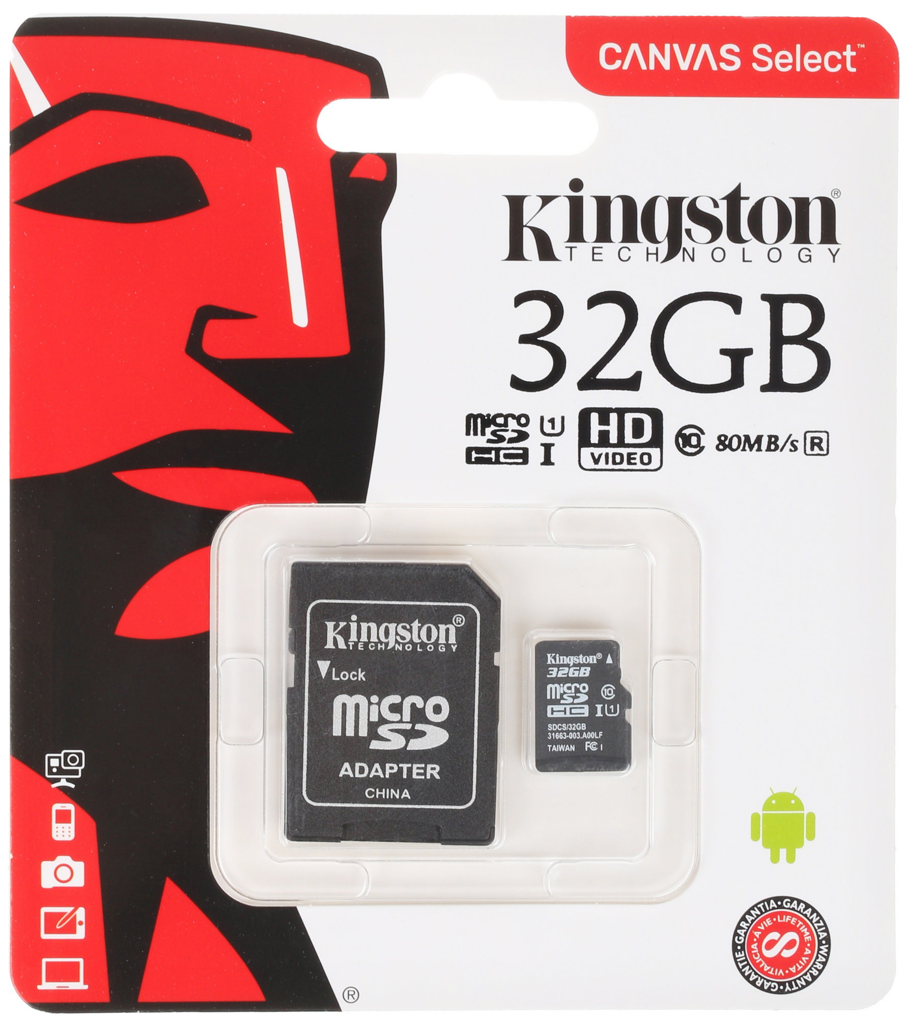 Карта памяти micro SDHC 32 Gb Kingston (SDCS/32GB), Canvas Select+ class 10 UHS-I, 80/10MB/s