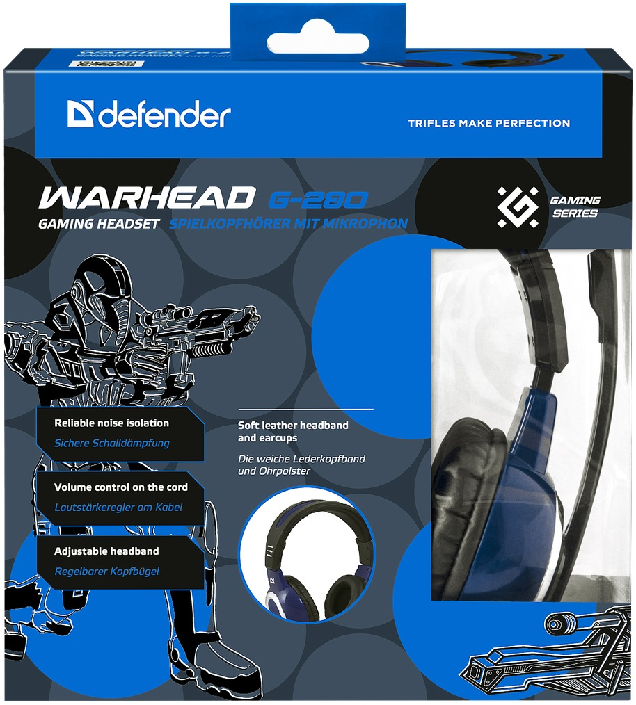 Гарнитура Defender Warhead G280 (G280), Black-Blue
