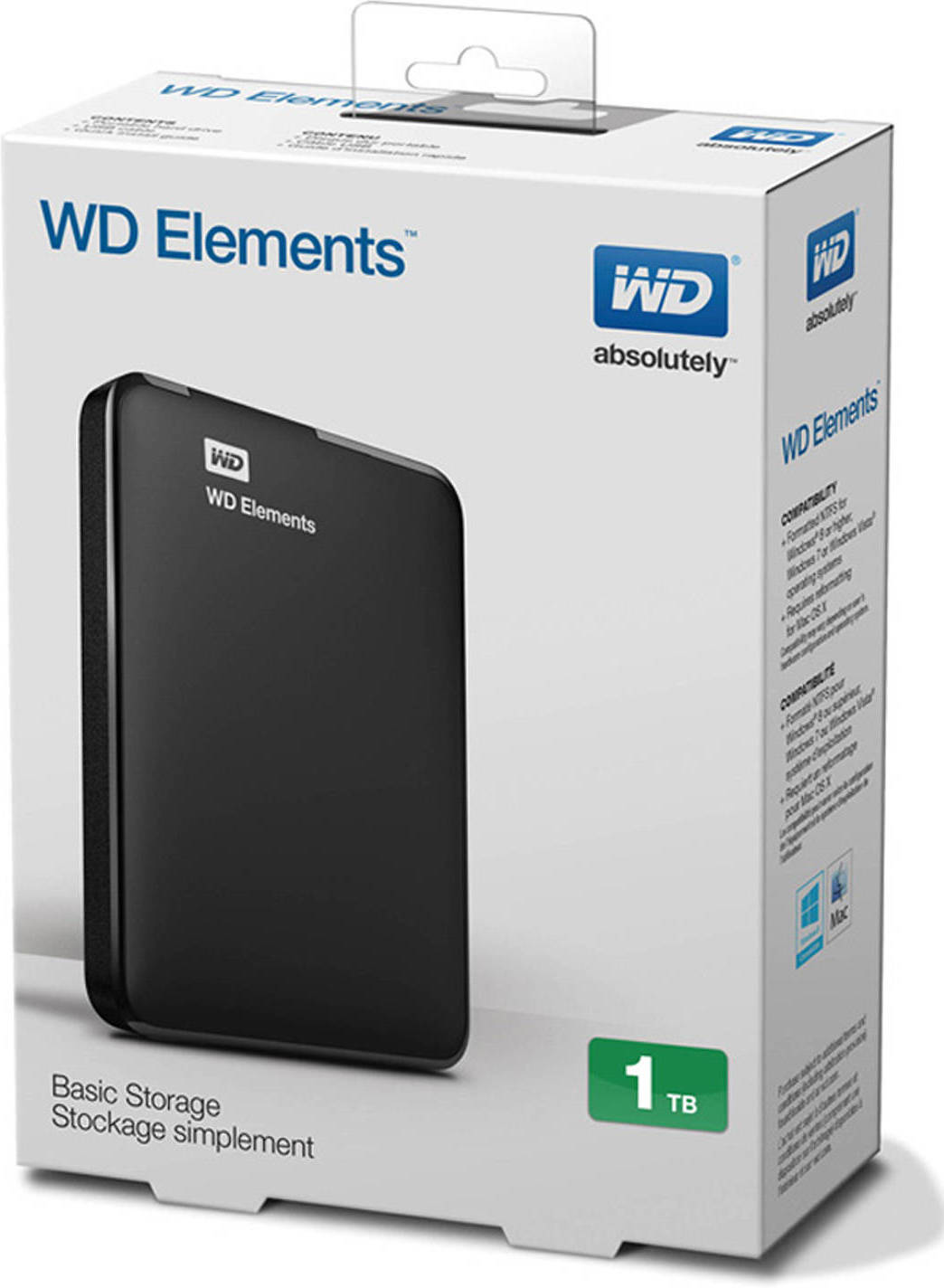 "Внешний жесткий диск 1000 Gb Western Digital Elements (WDBUZG0010BBK) (WDBUZG0010BBK-WESN (12*)), 2.5"", USB3.0, Black"