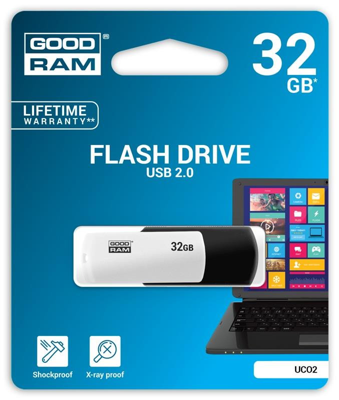Флэш-память GoodRam (UCO2-0320KWR11), 32 Gb, UCO2, USB 2.0, Black-White